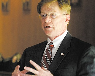 James Moran III, a finalist to be the next president of YSU, spoke Monday to attendees at a community forum.