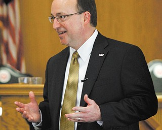 William R. Decatur, a finalist for Youngstown State University president, talks Wednesday in an open forum on campus.