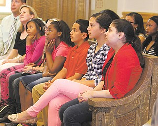 Students from W.S. Guy Middle School's student council, grades five through eight, got a close-up civics lesson from Youngstown Mayor Charles Sammarone and his staff in city council chambers Thursday morning. Principal Judd Rubin and Marla Dull, student council adviser, led the field trip for the Liberty students.