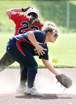 William D. Lewis\The Vindicator Fitch's Alex Corradi(13) looses the ball as Kent's xxxxxx (23) is safe at 2nd in a steal during 5/15/13 game aqt Fitch. Falcons won 4-2..