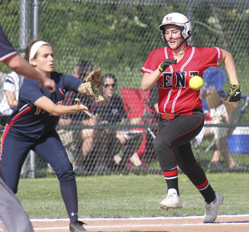 William D. Lewis\The Vindicator.Kent's Mary Gavriloff(15) is out at 1rst as Fitch first baseman Gabby Butcher(11) makes the catch during Wed game at Fitch. Falcons won 4-2.