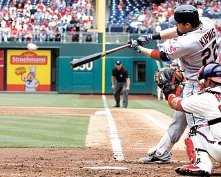 The Indians' Jason Kipnis hits a double against the Philadelphia Phillies during the third inning of an interleague basball game Wednesday in Philadelphia. Kipnis connected for a three run homer in the eighth, and Cleveland