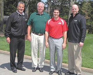 NICK MAYS | THE VINDICATOR From left, Joe Valvo, Dr. Mike Burley, Mike Case and Mark Shaw play important roles in the American Heart Association's 2013 Annual Golf Scramble. The fundraiser is scheduled for June 3 at the Youngstown Country Club. Local celebrity and former NFL star Tom Cousineau will play along with the other golfers.