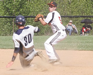 McDonald's Christian Rusinowski (30) tries to keep Mineral Ridge's Nick Ferguson from making the double play at first during their Division IV sectional final Thursday in McDonald. The Blue Devils ousted the Rams, 16-2.