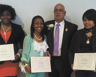 SPECIAL TO THE VINDICATOR The Youngstown Chapter of the A. Philip Randolph Institute recently honored students from Youngstown schools at a luncheon at the McGuffey center. Each year, the institute awards scholarships to seniors desiring to expand their educational studies. Each essay winner received a $1,000 scholarship award. The 2012-2013 scholarship recipients, from left, were Constance Pettway of Youngstown East High School who will attend Kent State University; Jonelle McIntyre of Chaney who will attend Howard University;  Michael Scarver, the keynote speaker, is political action coordinator for United Steelworkers of America; and award recipient, Ja'Lyn Russell of Youngstown Early College who also will attend KSU. The Rev. William Blake was the master of ceremonies and honorees were Dr. Martin Luther King Jr., and the founder of the organization, Asa Philip Randolph.