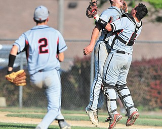 Struthers' Dan Diloreto (2) goes to join Wildcat pitcher Gary Muntean (24) and catcher Brandon Kish (5) as they celebrate the final out in the seventh inning of a Division II baseball semifinal against Niles on Monday at Cene Park in Struthers. The Wildcats ended the Red Dragons' season with a 6-3 win.