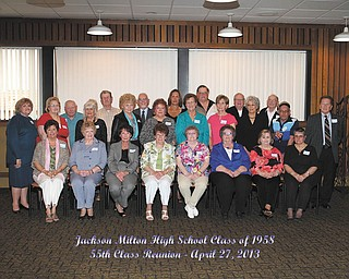 SPECIAL TO THE VINDICATOR  The Jackson-Milton High School Class of 1958 55th reunion took place April 27 at Rachel's Restaurant in Austintown. Classmates who attended are, first row from left, Virginia Hardwick, Peggy Welch, Sandra McCabe, Marian Hecker, Lovey Gay, Dorothy Clark, Mary Ann Crago and Gail Moore; middle row, Trudy Bassett, Martha Keller, Jo D'Agnostino, Mary Jane Parks, Mary Harshman, Mary Lou Noland, Kathy Peterson, Frances O'Leary, Bob Fetterolf and Norm Hoefler; and back row, Jim Lehosky, Ed Harkleroad, Bob Clegg, Janet Robbins, Roger Baringer, Ken Pew and Bob Clark. Prints may be ordered on the photographers website www.photopatty.photoreflect.com.