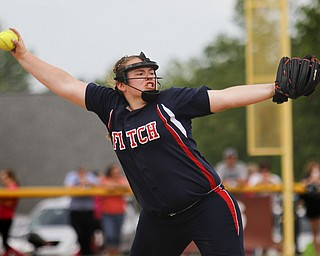 MADELYN P. HASTINGS | THE VINDICATOR  Fitch's Alex Franken (8) pitches during their game on May 22, 2013.    - -30-