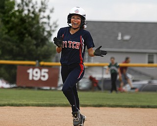 MADELYN P. HASTINGS | THE VINDICATOR   Fitch's Cali Mikovich (3) runs excitedly around the bases after hitting a home run.    - -30-