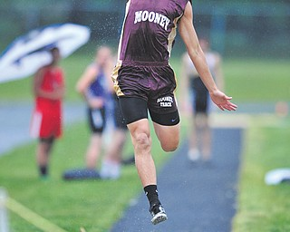 Cardinal Mooney's Marcus Penza jumped a season-best 20 feet, 6 inches to edge out top-seeded Alex Radwanski of Garrettsville Garfield to win the long jump by a half-inch at the Division II district track meet Thursday at Lakeview High School.