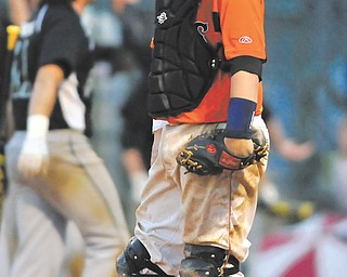 Howland catcher Tyler Spain looks on after Aurora scored on a squeeze during the bottom of the fifth inning of their rain-delayed Division I district semifinal baseball game Thursday at Cene Park in Struthers. The Greenmen rallied to ousted Tigers, 12-6.