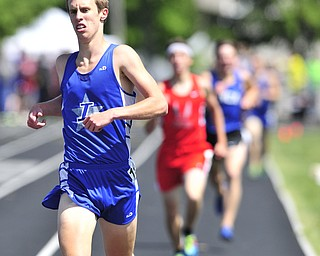 Lakeview runner Eric Harris of Lakeview sprints to the finish line to finish 2nd during the boys 1600 meter run.