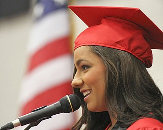 William D. Lewis\The Vindicator Girard HS 2013 class president Gina Martini speaks during Sunda ycommencement ceremony..
