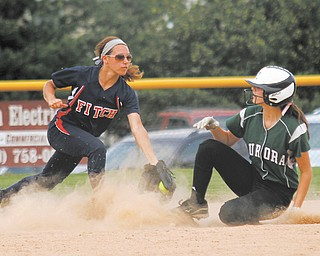 Austintown Fitch's Cali Mikovich, left, tags Aurora's Nicole Doyle out at third base during a Division I tournament game on May 22 at Fields of Dreams in Boardman. The Falcons' 5-2 victory clinched their first regional berth since 2005. Fitch will meet Medina in a regional semifinal at 5 p.m. Thursday at the University of Akron.