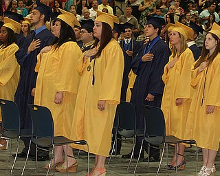 NICK MAYS l THE VINDICATOR  The Lowellville graduating class say the Pledge of Allegiance Sunday afternoon. 06022013 lowellville, ohio