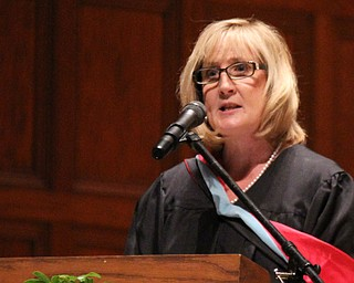 Guest speaker Kathy Stoops gives advice to the Cardinal Mooney graduates during commencement at Stambaugh Auditorium in Youngstown on Sunday.  Dustin Livesay  6/2/13  Youngstown.