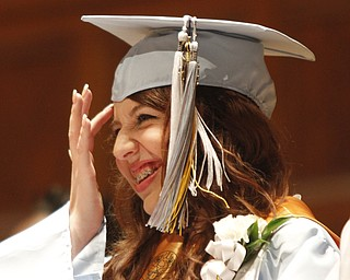 ROBERT K. YOSAY  | THE VINDICATOR    Shannon Sharp   Valedictorian shares a laugh curing the ceremony as   169 members of the East High School Class of 2013 who received their diplomas Thursday during the commencement ceremony at Stambaugh Auditorium.