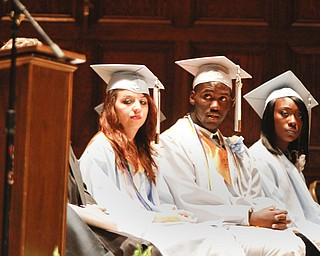 ROBERT K. YOSAY  | THE VINDICATOR   Shannon Sharp -  Valedictorian -  Deontay Scott - Salutatorian --   Emontae Mendenhall - Senior Class president  169 members of the East High School Class of 2013 who received their diplomas Thursday during the commencement ceremony at Stambaugh Auditorium.