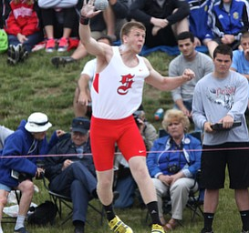 Salem's Anthony Shivers throws the Shot Put during the OHSAA Boy's Division II State Shot Put Finals, Friday, June 7, 2013, at the Ohio State University, in Columbus, Ohio. (Photo For The Vindicator by Terry Gilliam)