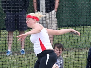 Salem's Ciera Trybend makes a throw during the OHSAA Gril's Division II State Discus Finals, Friday, June 7, 2013, at the Ohio State University, in Columbus, Ohio. (Photo For The Vindicator by Terry Gilliam)
