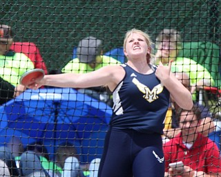McDonald's Tory Ross throws the Discus during the OHSAA Girls Division III Discus Finals, Friday, June 7, 2013, at the Ohio State University, in Columbus, Ohio. (Photo For The Vindicator by Terry Gilliam)