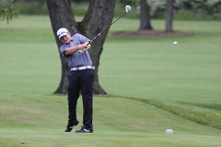 Joey Shushok drives off the final tee box of the 18th hole during the Greatest Golfer of the Valley tournament at Mohawk Trails Golf Course in New Castle.