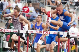 Chad Zallow competes in the 110m hurdles at the state track and field finals at Jesse Owens Memorial Stadium, Columbus, OH, Saturday, July 8, 2013.