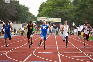 Carl Zallow competes in the 100m dash at the state track and field finals at Jesse Owens Memorial Stadium, Columbus, OH, Saturday, July 8, 2013.