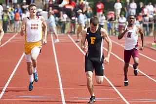 Andrew O'Leary competes in the 400m dash at the state track and field finals at Jesse Owens Memorial Stadium, Columbus, OH, Saturday, July 8, 2013.