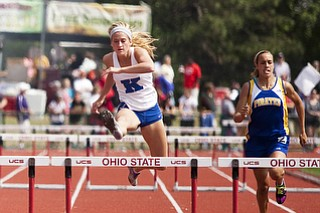 Morgan Rice competes in the 300m hurdles at the state track and field finals at Jesse Owens Memorial Stadium, Columbus, OH, Saturday, July 8, 2013.