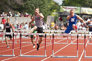 Chad Zallow competes in the 300m hurdles at the state track and field finals at Jesse Owens Memorial Stadium, Columbus, OH, Saturday, July 8, 2013.
