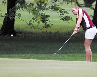 Anna Patoray chips onto the green of the 15th hole during the Greatest Golfer of the Valley tournament at Mohawk Trails Golf Course in New Castle.