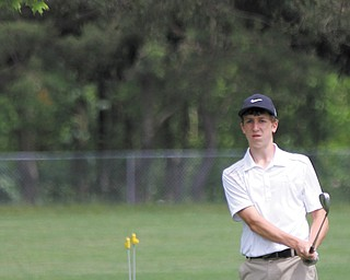 Nicholas Braydich chips onto the green of the 17th hole during the Greatest Golfer of the Valley tournament at Mohawk Trails Golf Course in New Castle.