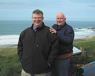 Gordon Welsh and his son Tim are at Giant's Causeway on their recent (and first) trip to Ireland. Both are of Boardman.