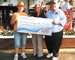 SPECIAL TO THE VINDICATOR Home Savings Charitable Foundation has donated $251 to Beaver Township Parks for its efforts to provide entertainment and educational programs to visitors of all ages. Among other activities, the park offers Music in the Park, Autumn Fest, a corn roast, a holiday tree lighting, Kids Fun and Safety Day, a Veterans Day program and a Kids Halloween party. From left are Irene Calvin, chairwoman, Beaver Township Parks; Amanda Congemi, retail manager, Home Savings Columbiana office; and Scott Conway, park administrator, Beaver Township Parks.