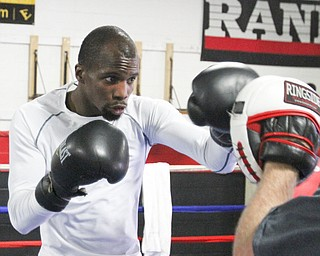 William D. Lewis\The Vindicator.Boxer Willie Nelson during a 6-19-13 workout at Southside Boxing Club in Youngstown.