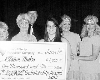 SPECIAL TO THE VINDICATOR The Trumbull Senior Production Company recently presented Elaina Timko of LaBrae High School with a $1,000 scholarship to the Dana School of Music for her studies to become a music teacher. Those presenting the award, from left, are Carol Bovee, vice president; Jean Bolinger, treasurer; Jason Burgermyer, president; Timko; Jeannie Trask, board member; and Leslie Wilkinson, member. To qualify for the scholarship, applicants are required to graduate from a Trumbull County high school with plans to major in some phase of the performing arts.