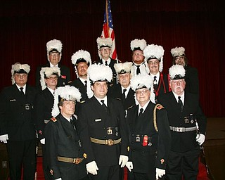 SPECIAL TO THE VINDICATOR St. John's Commandery 20, Knights Templar of Youngstown, recently installed officers at the Masonic Temple in Youngstown. New officers, in the front, from left, are Timothy N. Flack, generalissimo; Dominic M. Lucarelli, eminent commander; and James A. Streeky, captain general; in the middle are Brian S. Williams, senior warden; Gary S. Farrant, junior warden; Zel E. Bush, prelate; Timothy A. Johnson, treasurer; Richard J. Brady, recorder; and George E. Brainard, standard bearer;  and in the back are John N. Craig, sentinel; James B. Parker IV, sword bearer; Shaun M. Laughlin, warder; and Robert K. Ellway, trustee.