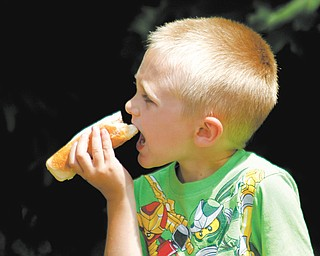Eddie Ware, 5, takes a big bite out of a hot dog during Harry Stevens Hog Dog Day on Sunday in downtown Niles. The event honored Stevens, the Niles entrepreneur who is credited with inventing the hot dog, drinking straw and scorecard.