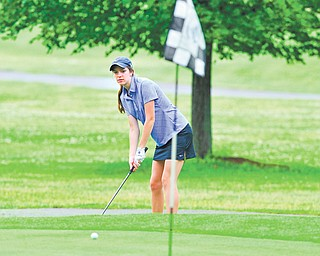 Bailey Hardick of Canfield watches her ball break toward the cup after a chip shot on the seventh hole at Diamond Back Golf Course during Monday's junior qualifier for the Greatest Golfer of the Valley tournament.