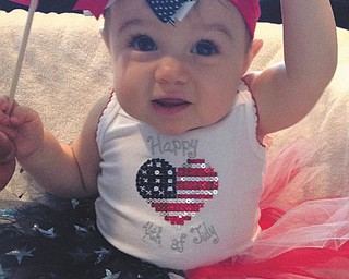 Kalotina Alexandra Xenikis, 8 months, of Campbell, is dressed to celebrate her father's birthday, July 4. Her family heritage involves many who served and a cousin who is serving our country in the U.S. Air Force, so they have more than one reason to celebrate this special holiday!!  Submitted by Dana Sacui.