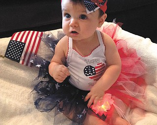 Kalotina Alexandra Xenikis, 8 months, of Campbell, is dressed to celebrate her father's birthday, July 4. Submitted by Dana Sacui.