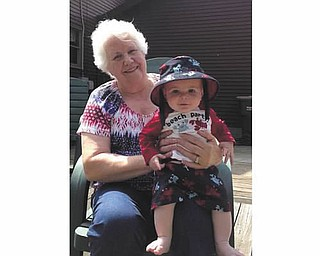 Great-grandma Betty Thompson with her grandson, Dominic Fiumara. Both are of Poland. Submitted by Amy Fiumara, Dominic's mother.