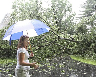 William D Lewis The Vindicator MAry Baumeier looks at a treefell onher Ravine Drive home in Liberty Wed during heavy storms. A large oak tree fell and partially landed on her house. no one was injured.