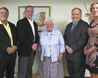 SPECIAL TO THE VINDICATOR The James and Coralie Centofanti Charitable Foundation has given a $20,000 grant to the Ursuline Sisters of Youngstown for a ministry conference room project. The room will be created with technological capabilities for teleconferences, webinars and other web-based communication. Above are members of the distribution committee with Sister Nancy Dawson (center), general superior of the Ursuline Sisters of Youngstown. From left are Dave Centofanti, son of the late James and Coralie Centofanti, and Mark Graham, Dante Zambrini and Carol Potter.