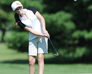 Skylar Lading of Hubbard chips onto the green on the 3rd hole Friday morning at Tamer Win in Cortland.