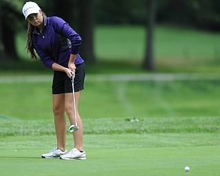 Angelica Maggio of Howland follows through on her putt the 8th hole Wednesday afternoon at Mill Creek Golf Course.