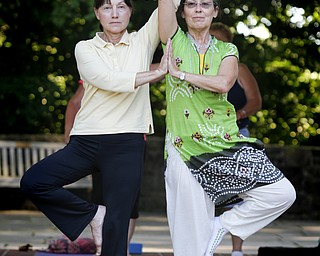 MADELYN P. HASTINGS | THE VINDICATOR  (L-R) Barbara Borts and Karres Cvetkovich participate in a yoga class at the Fellows Riverside Gardens in Mill Creek Park on Thursday, July 25. Pilates and tai chi are also offered through the 'Scenic Fitness Workshop'.