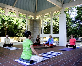 MADELYN P. HASTINGS | THE VINDICATOR  Karres Cvetkovich (foreground) teaches a yoga class to (L-R) Barbara Borts, Beth Ernest, Carol Opatken, Margaret Popovich and about 5 others not pictured at the Fellows Riverside Gardens in Mill Creek Park on Thursday, July 25. Pilates and tai chi are also offered through the 'Scenic Fitness Workshop'.