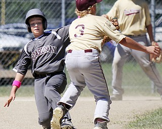 William d Lewis The Vindicator  #Boardman's Jake Fonderlain(6) is safe at 2nd as New Albany's (3) Nick Shroyer waits for the throw during Friday action in Ashtabula.